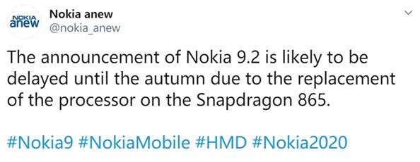 HMD新旗舰推迟到秋季发布 命名为诺基亚9.2+骁龙865