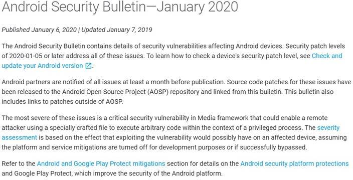 Google发布Android补丁和Pixel更新 Media漏洞可能允许远程执行代码