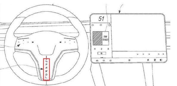 特斯拉专利曝光 增加挡位显示+带有触摸屏的方向盘