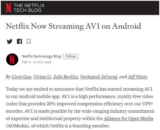 Netflix即将启用Android客户端的AV1格式支持 引入由VideoLAN/VLC和FFmpeg社区构建
